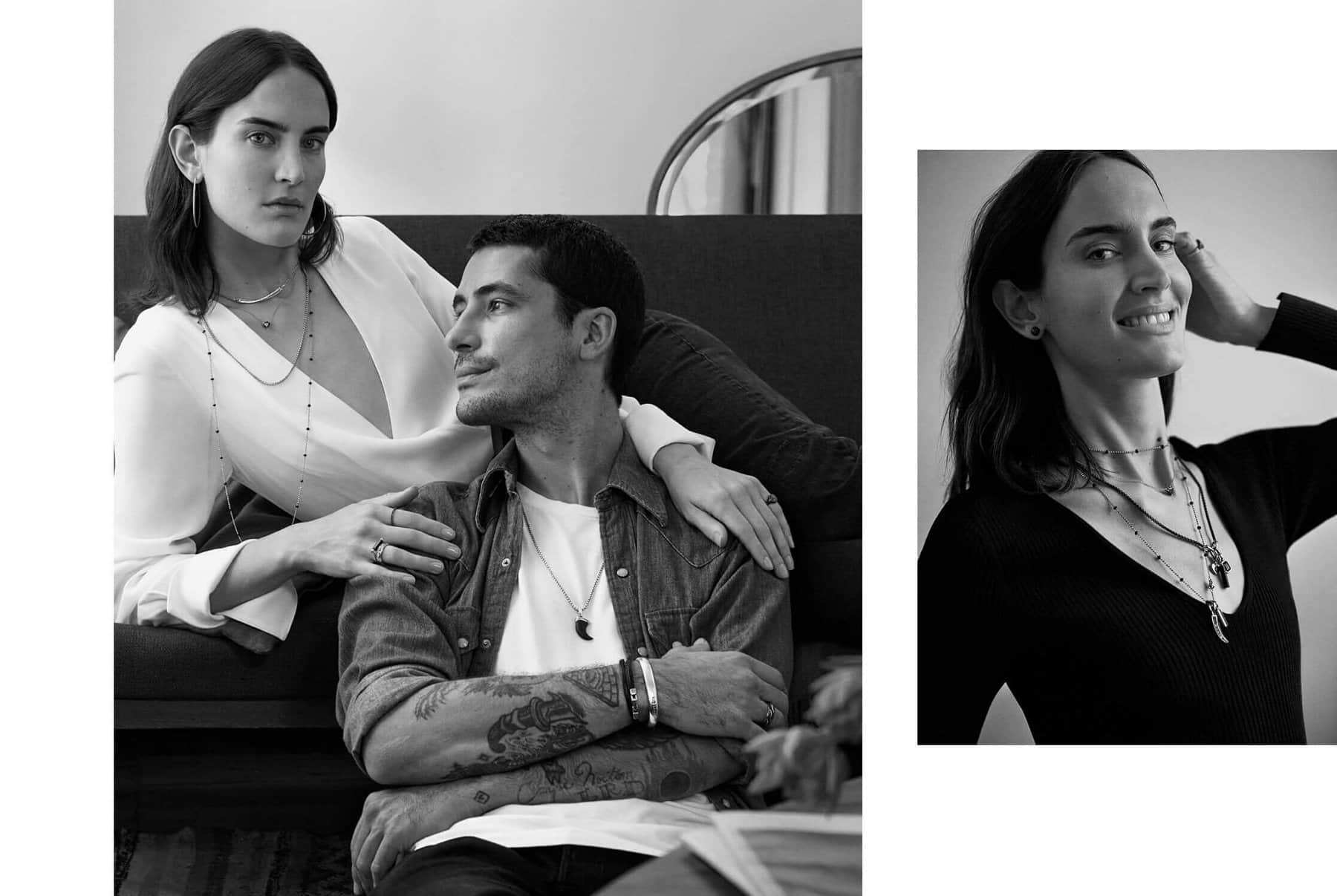 A collage of a color video and two black-and-white photos are arranged in a row on a white background. The video and portraits feature Jane and Dylan, a creative couple wearing various David Yurman jewelry designs.