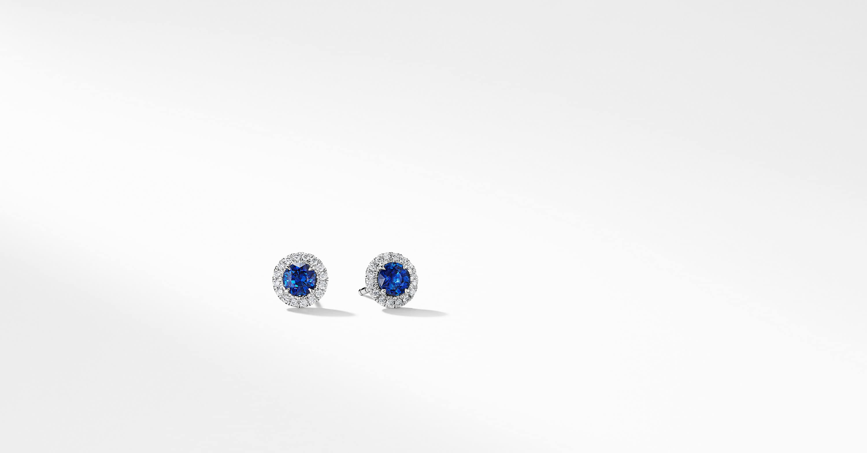 DY Capri Stud Earrings in 18K White Gold with Blue Sapphires and Diamonds