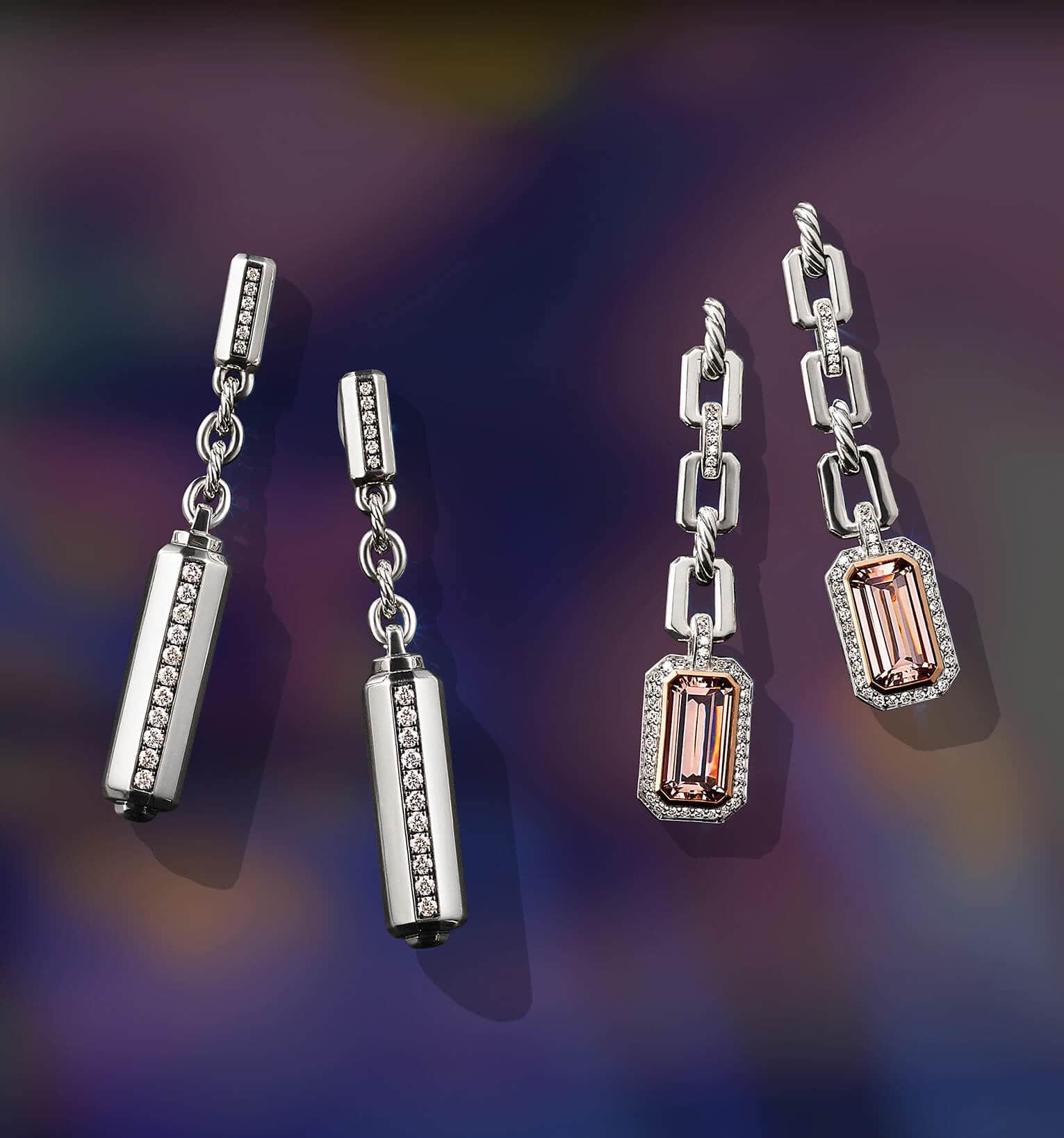 A color photograph shows two pairs of David Yurman drop earrings from the Lexington and Stax collections in front of an illuminated blue-and-green backdrop. The women's earrings are crafted from sterling silver with pavé diamonds or 18K rose gold with morganite and pavé diamonds.