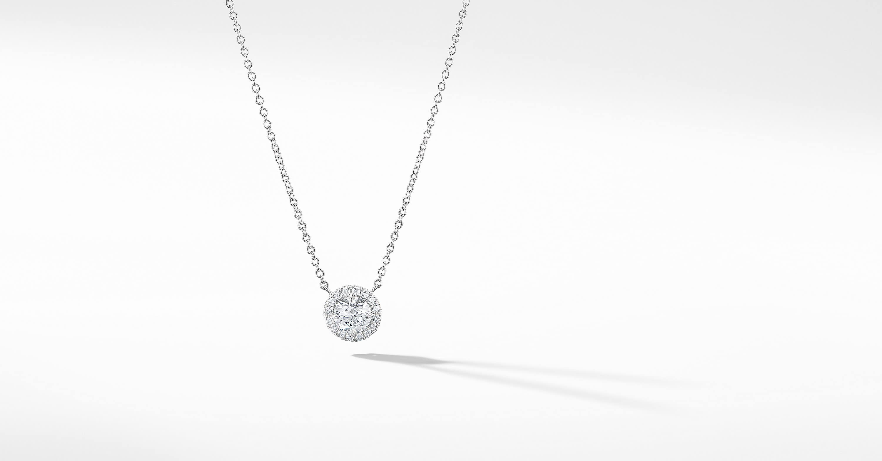 DY Capri Round Pendant Necklace in 18K White Gold with Diamonds