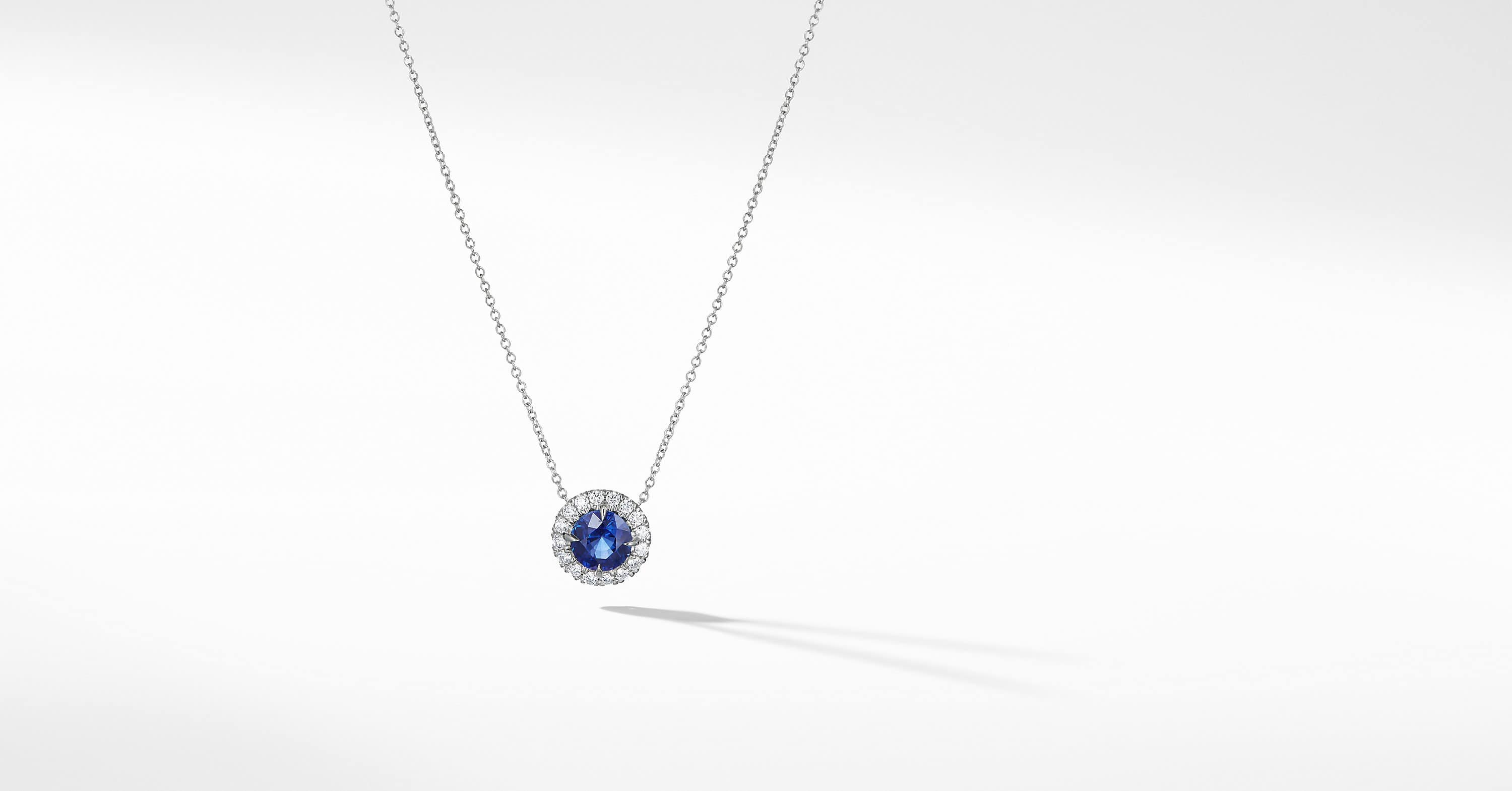 DY Capri Round Pendant Necklace in 18K White Gold with Blue Sapphire and Diamonds
