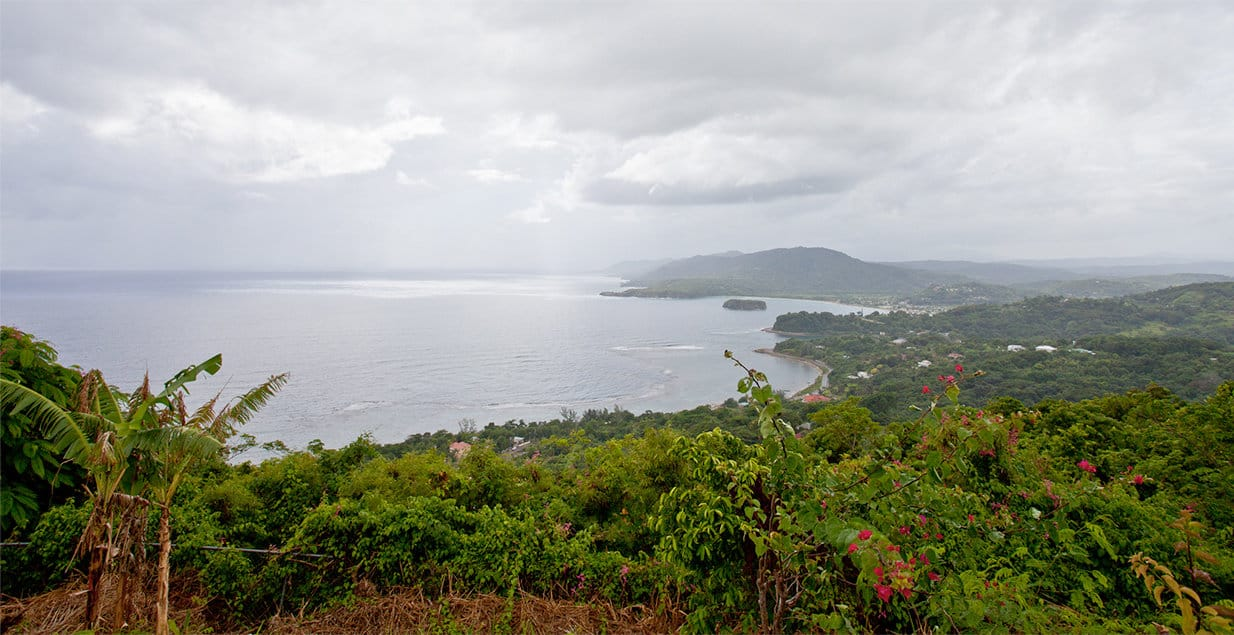 A photo of the Jamaican landscape and coastline.