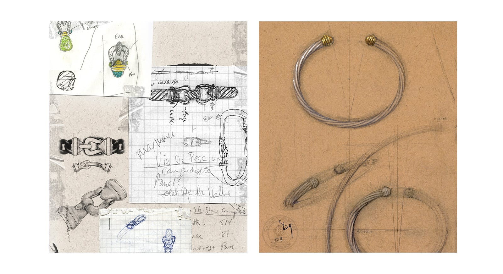 A collage of David Yurman's pencil-and-ink sketches of Buckle bracelets and clasps next to a pencil sketch of his trail bracelet with gold-colored end caps.