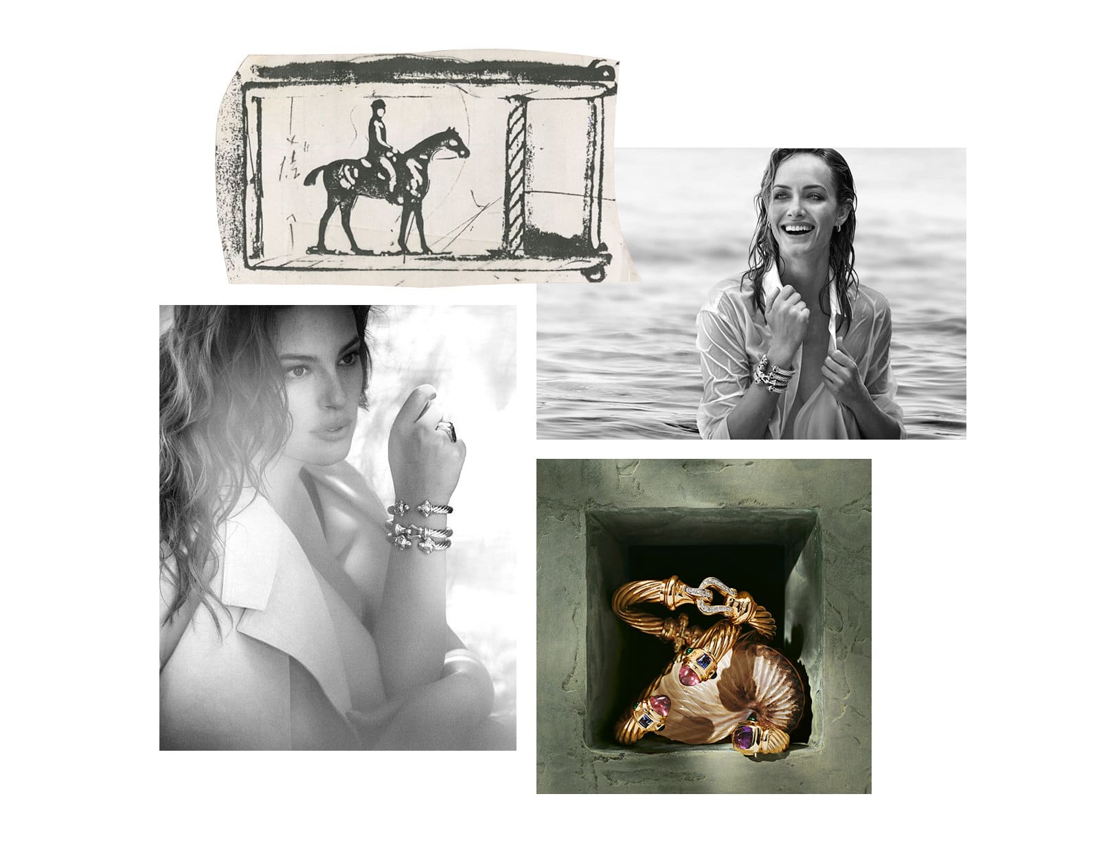 A collage of four images. Clockwise from top left: David Yurman's black-ink sketch of a belt buckle depicting a man riding a horse; a black-and-white photograph of model Amber Valletta; a golden stone shadowbox with a seashell; a black-and-white photo of model Ashley Graham