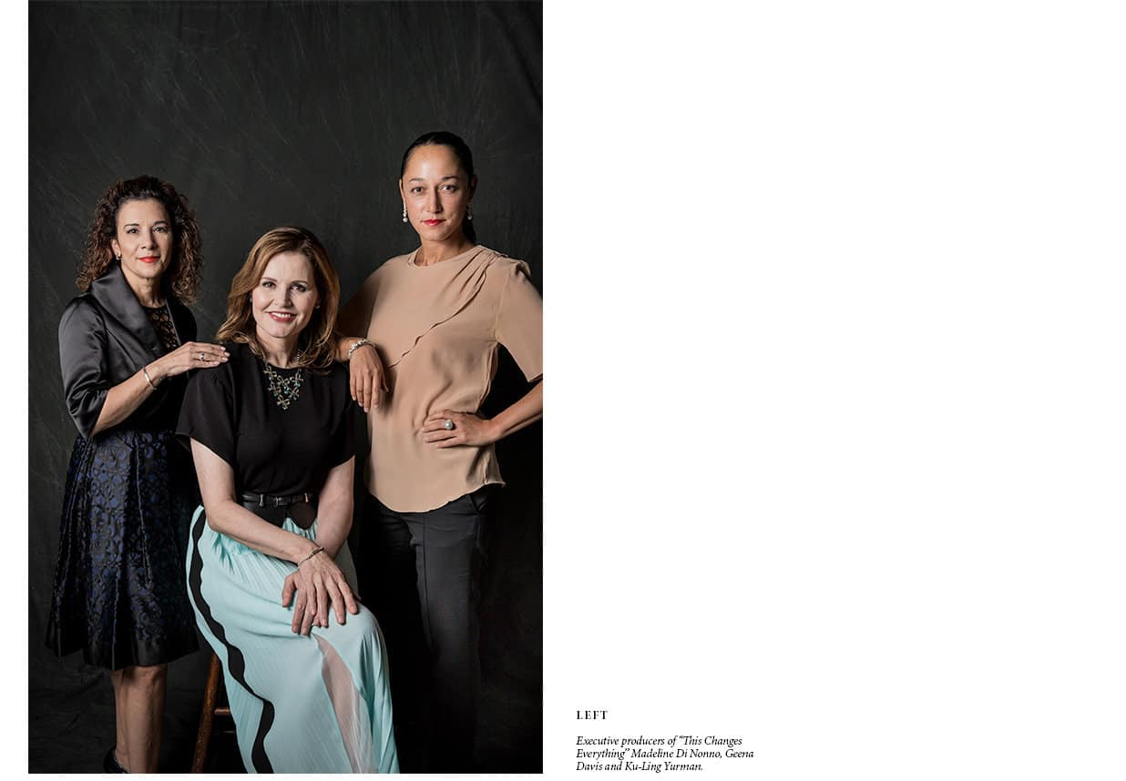 A color photograph shows actress-activist Geena Davis seated in between executive producers Madeline Di Nonno and Ku-Ling Yurman, who are both standing.