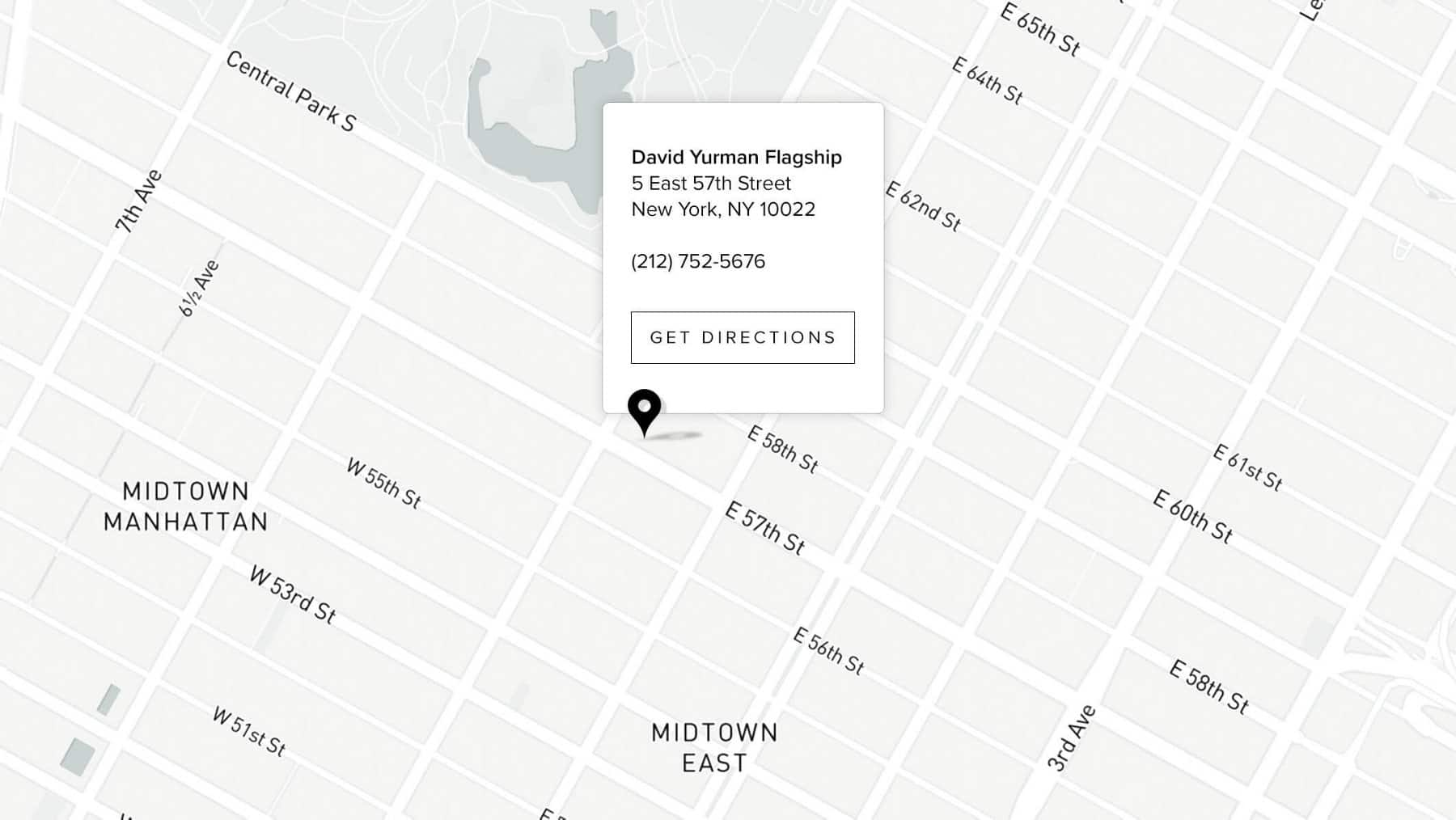 A map showing midtown Manhattan with a pin indicating the David Yurman Flagship at 5 East 57th Street, New York, NY 10022.