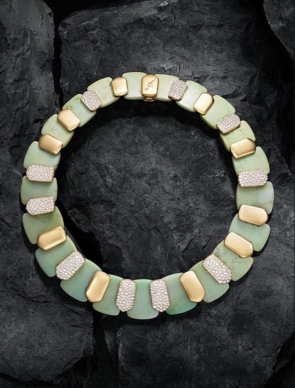 An Artist Series necklace in hand-finished 18K gold with chrysoprase and diamonds. One of a kind.