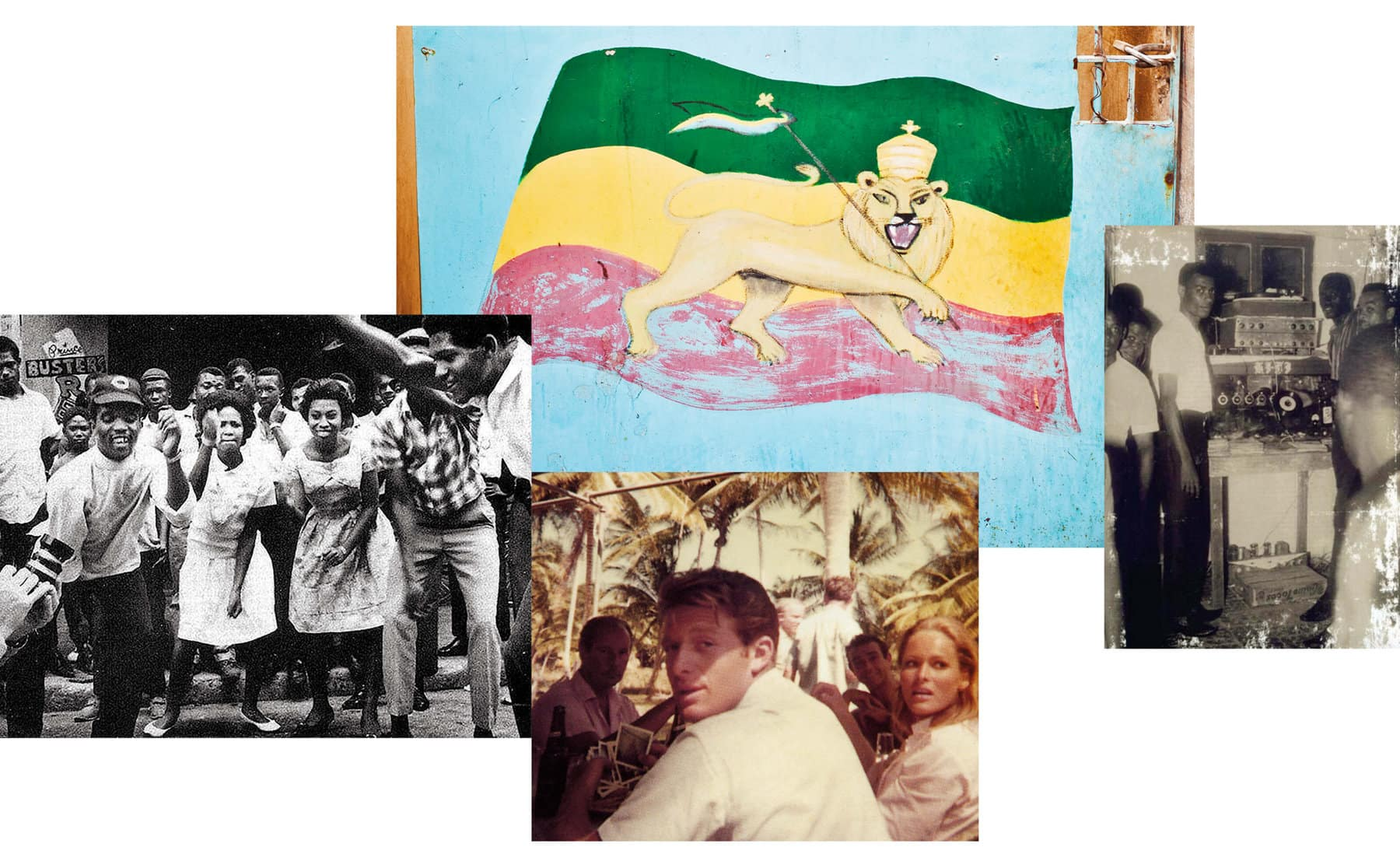 A collage of color and black-and-white photos of Jamaican musicians with sound systems, Jamaicans dancing outdoors, a painting of an Ethiopian flag with a lion holding a scepter, a young Chris Blackwell seated with other people.