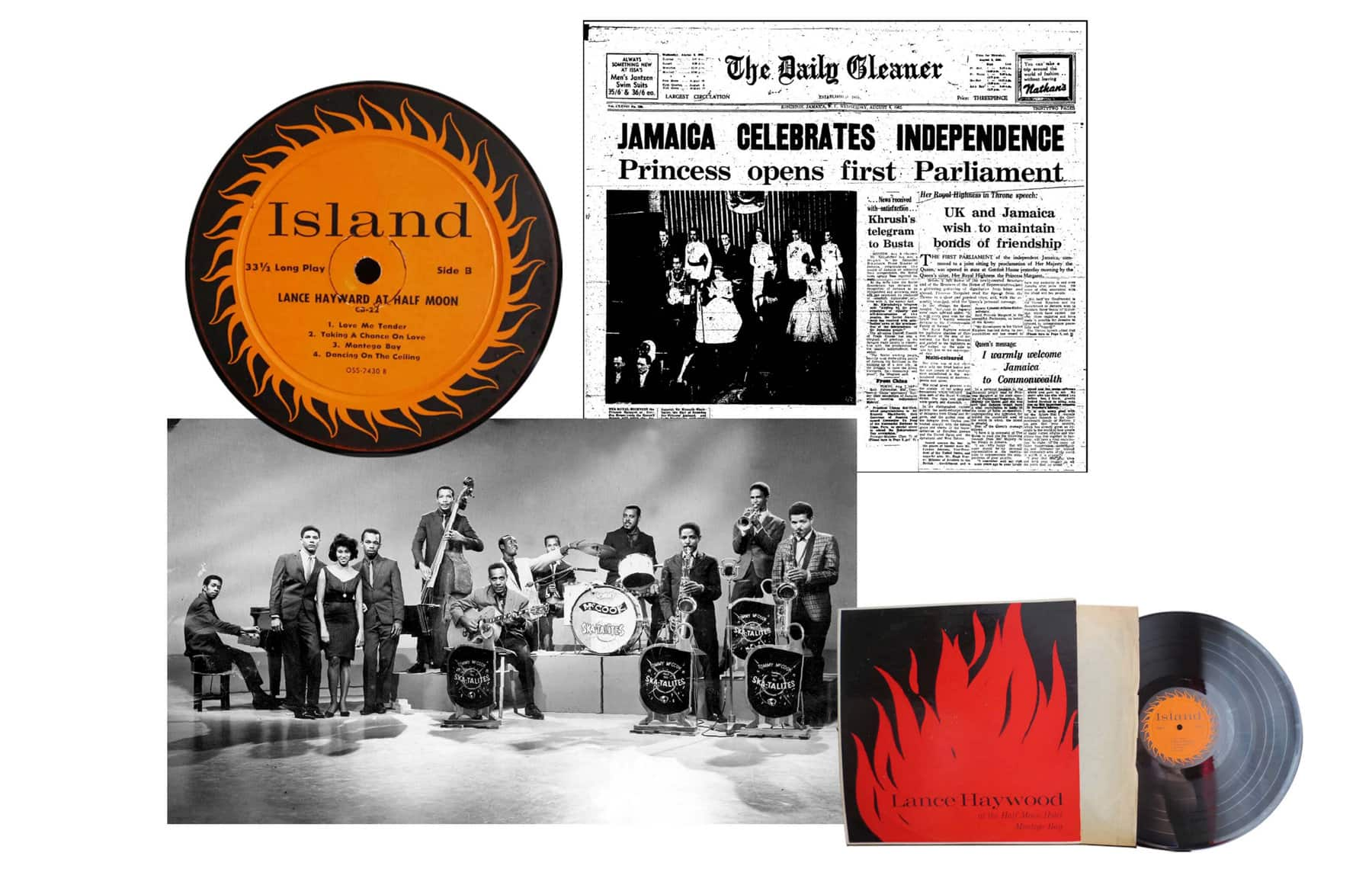 A collage of color and black-and-white photos of LPs from Island Records, the front page of a newspaper declaring Jamaica's independence and the Skatalites.