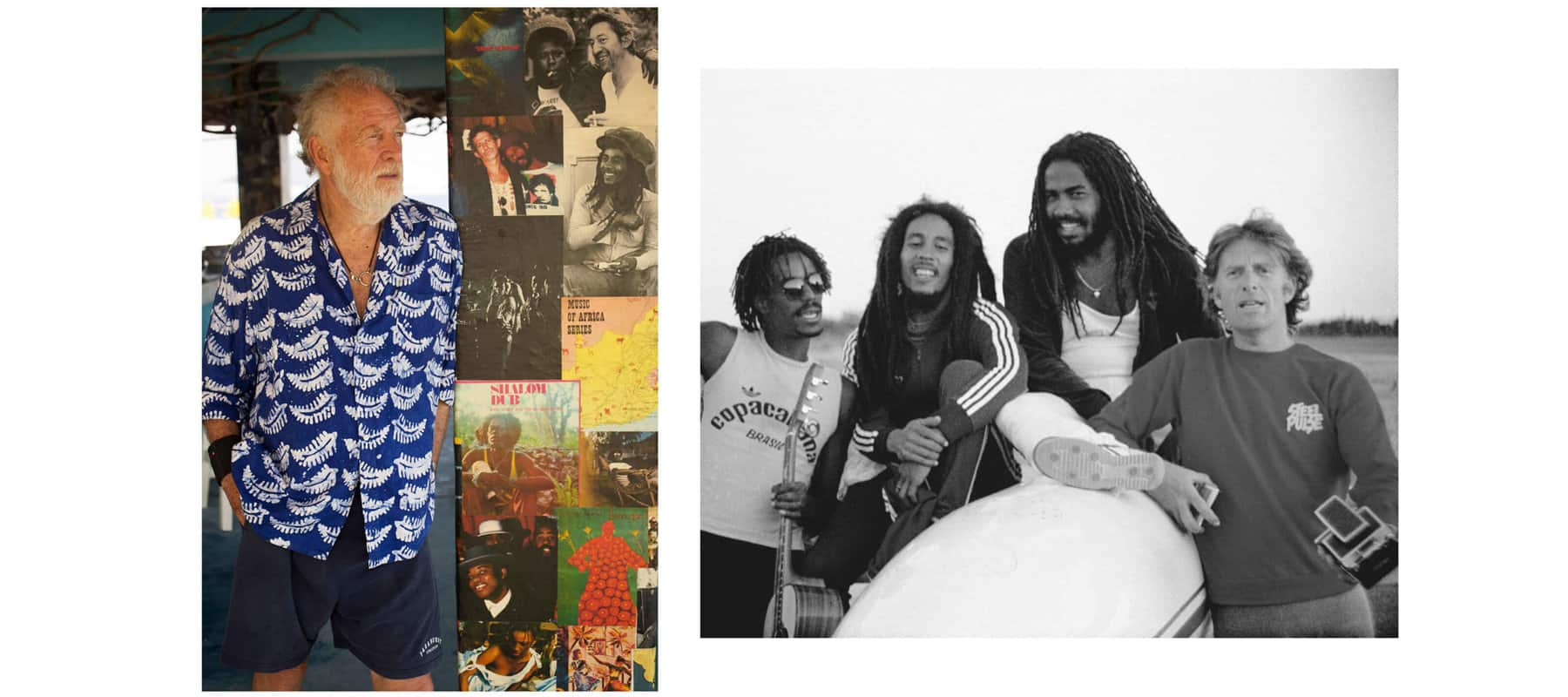 Left: a color photograph of Chris Blackwell standing next to a wall covered with photos of Bob Marley. Right: a black-and-white photograph of Junior Marvin, Bob Marley, Jacob Miller and Chris Blackwell in Brazil in 1980.