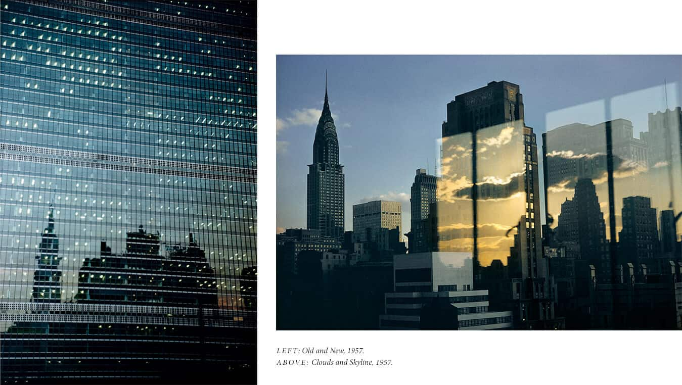 Two color photographs by Ernst Haas are placed side by side. Left: A photo of a New York City office building with windows reflecting another building. Right: An image abstracts light reflections and clouds with the New York City skyline. A photograph of the Chrysler Building and midtown Manhattan is juxtaposed with four long rectangles showing a golden-and-blue sky with white clouds above the Manhattan skyline.