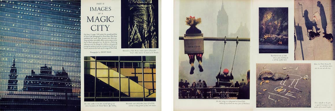 "Two spreads from Ernst Haas's ""Images of a Magic City"" in Life magazine are placed side by side, showing glass windows reflecting another NYC building and colorful billboards."