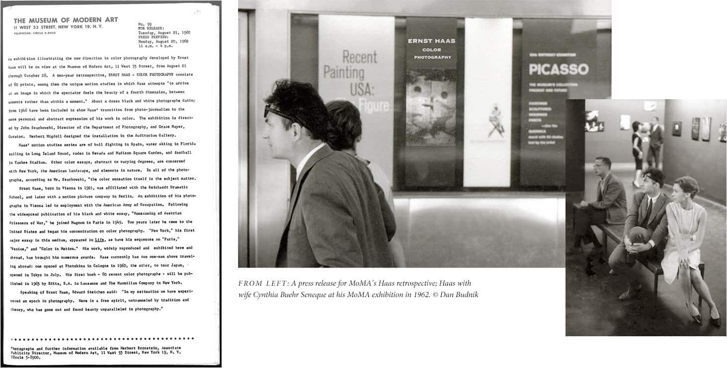 A collage of images includes a press release from the Museum of Modern Art about the Haas retrospective placed next to black-and-white photos of Haas and his wife at the MoMA exhibition.