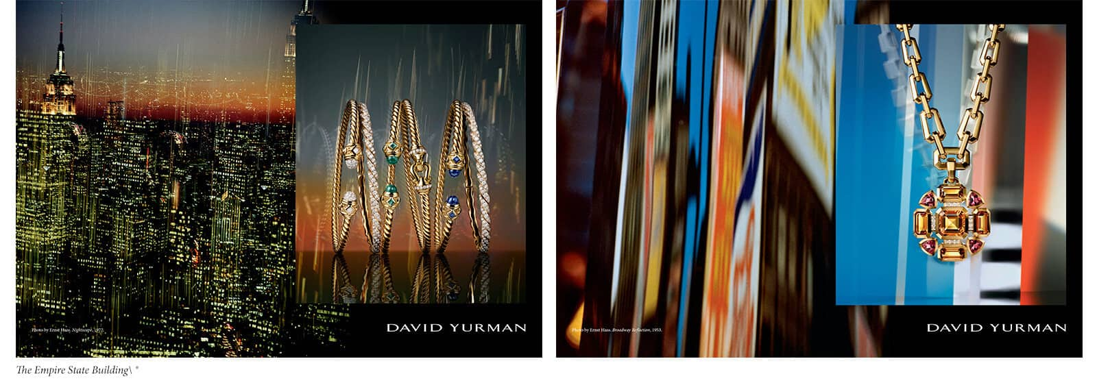 A quote from Edward Steichen is placed below two colorful spreads from the David Yurman Fall 2019 ad campaign, each juxtaposing a Haas image of NYC with a photo of 18K gold bracelets or a pendant necklace.