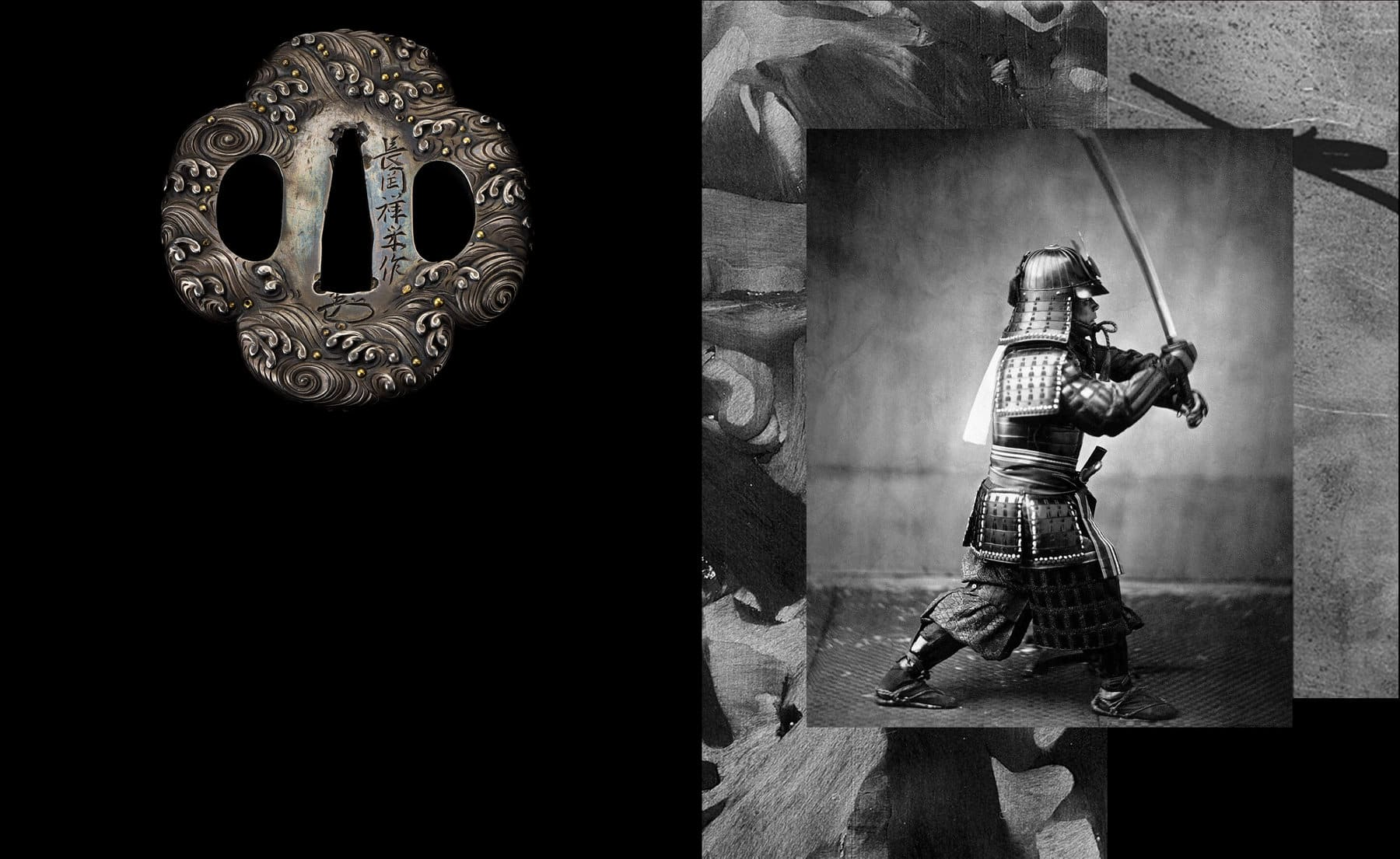 A photo collage juxtaposes a color photo of an antique Japanese tsuba with a color photo of forged carbon and a black-and-white photo of a samurai warrior. On the left, the tsuba is shot against a black background. On the right, the samurai warrior wields a sword and is dressed in armor. A close-up of forged carbon creates a border around the samurai image.