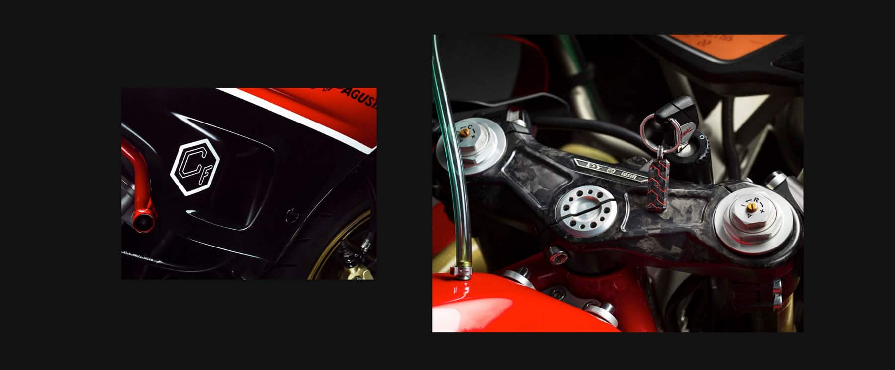 Color photographs showing the Forged Carbon Collection hallmark and the forged carbon triple tree components of the David Yurman Forged Carbon MV Moto by Agusta.