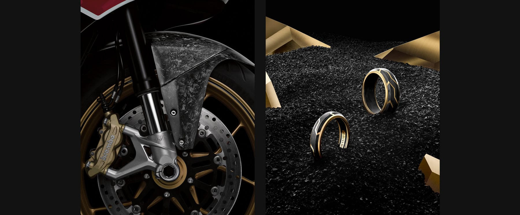 Photos en couleur de l'emblème de la collection Forged Carbon et des pièces en carbone forgé de la moto David Yurman Forged Carbon MV d'Agusta.