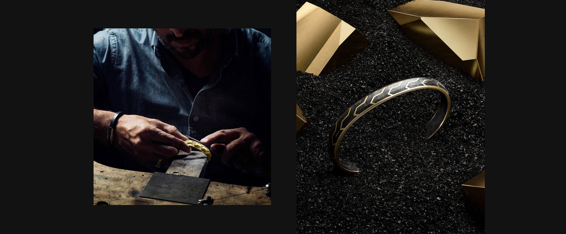 Color photographs showing custom forged carbon fenders attached to a wheel of the David Yurman Forged Carbon Moto by MV Agusta and two David Yurman Forged Carbon bands in 18K gold with forged carbon standing up near geometric blocks of gold in a pile of forged carbon shavings.