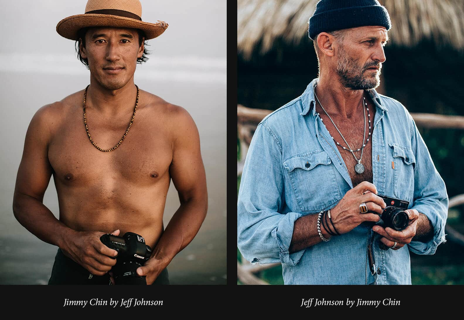Two portraits of Jimmy Chin and Jeff Johnson are placed side by side. Jimmy is wearing a straw hat and a David Yurman beaded necklace while holding a camera on the beach. Jeff is wearing a chambray shirt, a blue watch cap and David Yurman sterling silver jewelry including a beaded necklace, a Shipwreck pendant on a chain, a Chevron leather bracelet and an Exotic Stone signet ring while holding a camera in front of a straw hut.
