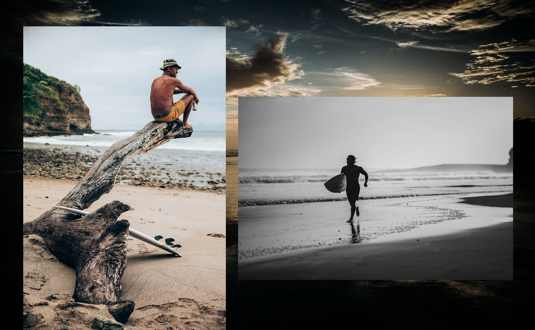 A collage of photos juxtaposes a black-and-white photo of Jimmy Chin running on a beach while holding a surfboard with a color photo of Jeff Johnson sitting on a large piece of driftwood on the beach. The two images are placed atop a color photo of a beach in Nicaragua during sunset.