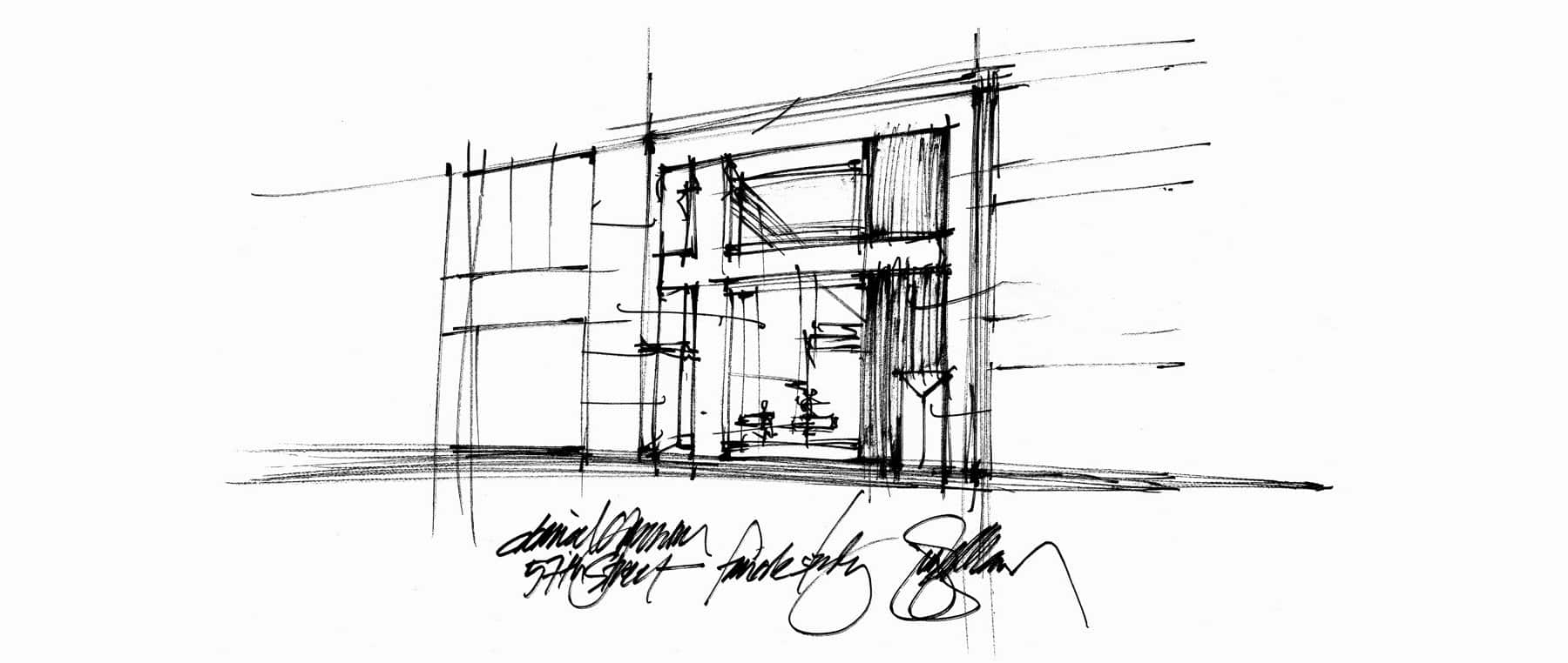 A loose black-and-white sketch of the exterior of the new David Yurman flagship store in New York City. The sketch depicts the front of the store and the building next to it with a door, rectangular windows and a cross-shaped element framing the windows.
