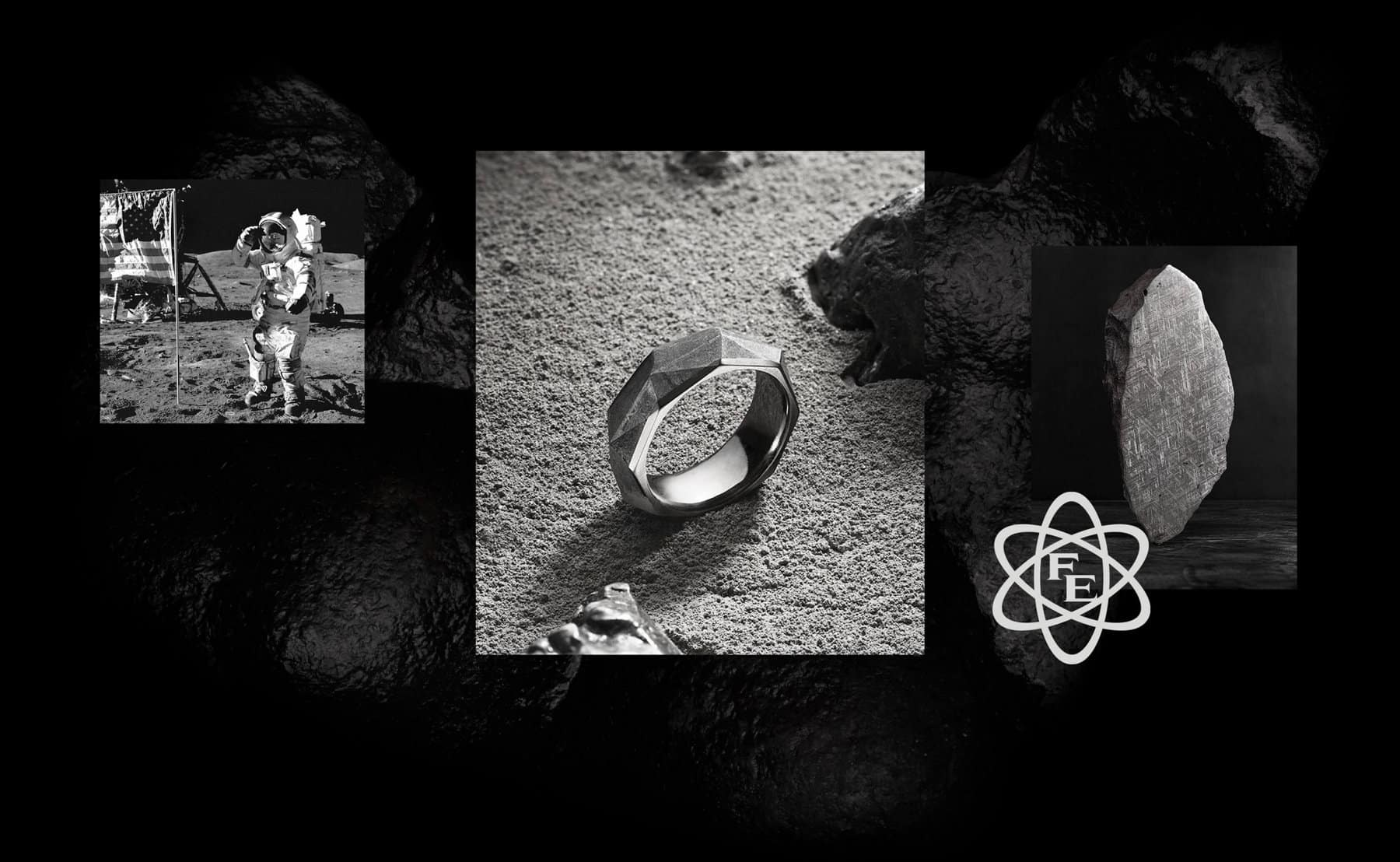 "A photo collage juxtaposes three black-and-white images. On the left is a vintage photo of an astronaut saluting an American flag on the moon. The center photo shows a David Yurman band ring standing upright on top of a grey, rocky surface. The ring features a sterling silver interior and a faceted meteorite exterior. On the right, a photo shows a close-up image of the crosshatchings in Gibeon meteorite next to a black atomic symbol with ""FE,"" the David Yurman hallmark for meteorite."