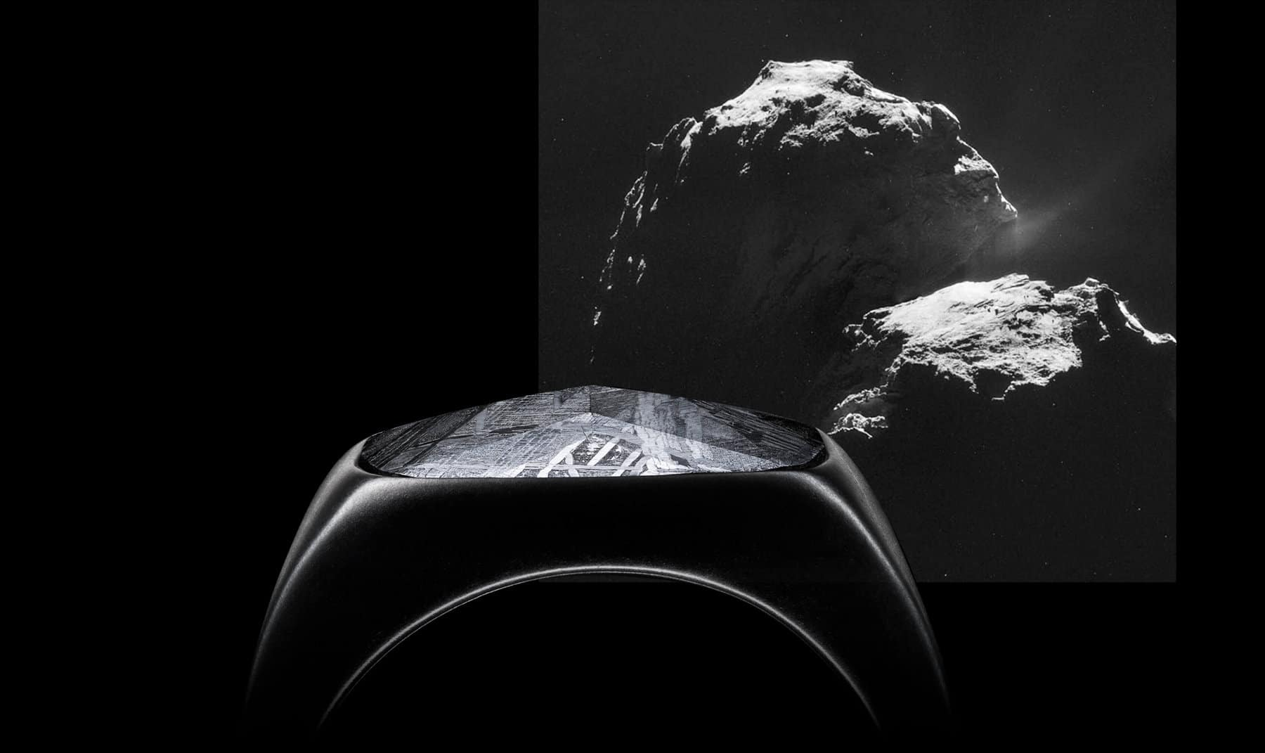 A photo collage juxtaposes a close-up color photo of a David Yurman ring in black titanium with meteorite with a black-and-white photo of dramatically lit meteorites against a starry night sky.