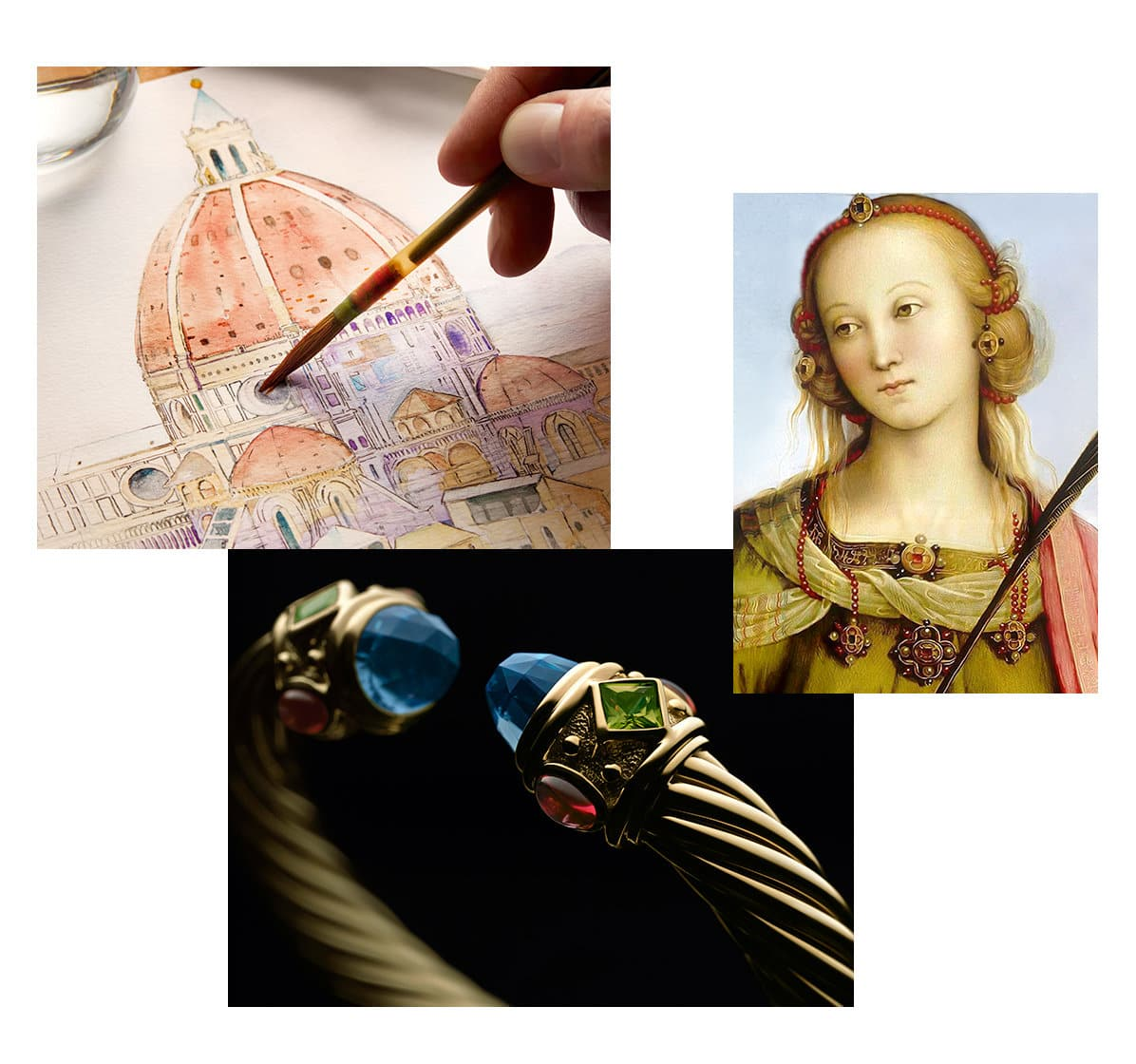 A collage of three images. One photo depicts a hand holding a paintbrush and coloring in a watercolor of a domed building in Italy. One image is of an Italian Renaissance painting of a woman wearing a head ornament, earrings and necklaces. The last image is of the David Yurman Renaissance bracelet in 18K yellow gold with rubies, topaz and green tourmalines.