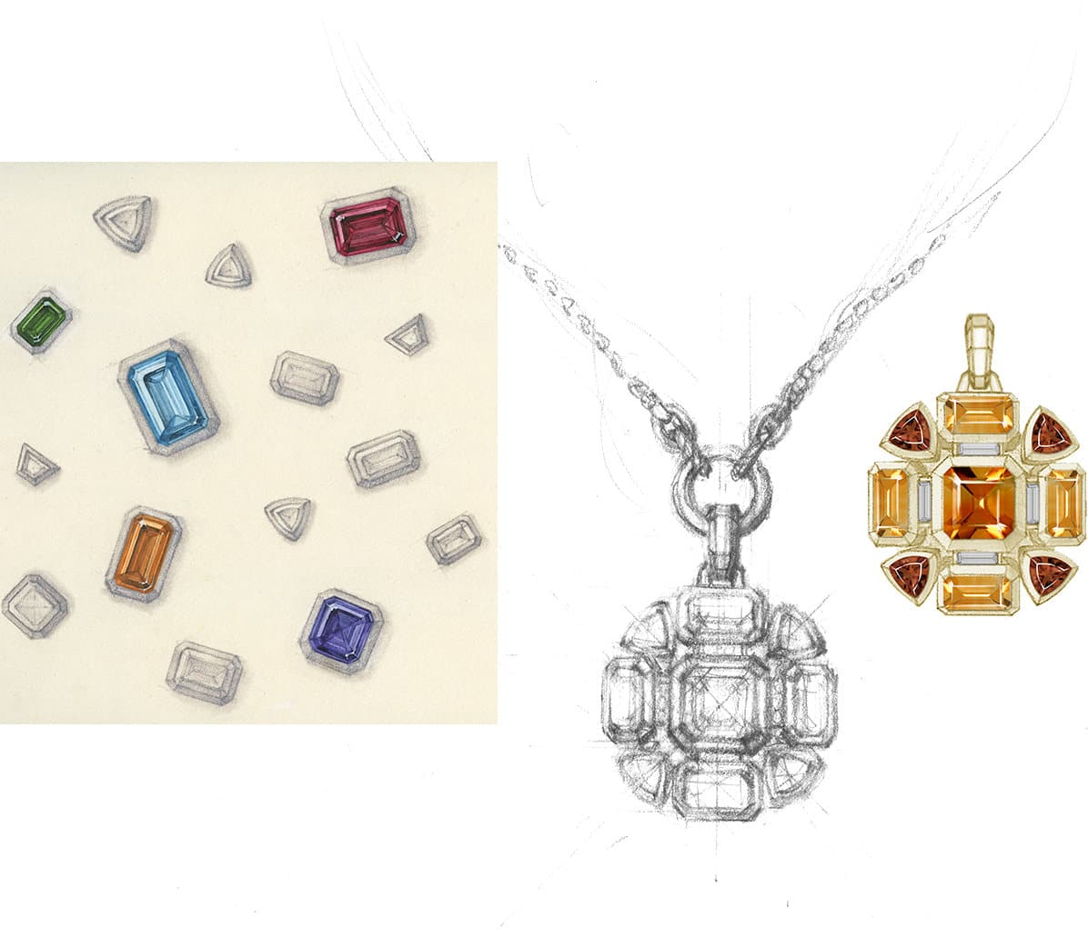 A pencil sketch of scattered emerald, trillion and baguette gemstones with five gemstones colored in next to drawings of two Novella pendants with citrines and pink tourmalines set in 18K yellow gold.
