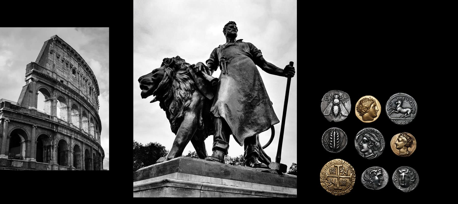 A photo collage features two black-and-white photos in a row next to color photograph showing nine antique silver- and gold-hued coins depicting a bee, horse, grain of wheat and profiles of men against a black background. The black-and-white photos show the Roman colosseum ruins and a statue of a lion next to a male figure holding an axe.