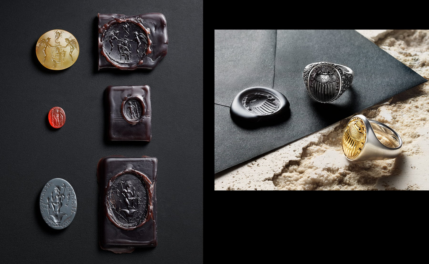 A photo collage shows two color photos. On the left is a shot of three gemstones intricately carved with angels or male figures next to blocks of wax stamped with the three intaglios. On the right is a shot of two David Yurman men's Petrvs® signet rings, crafted from sterling silver with an 18K yellow scarab or black onyx scarab with pavé black diamonds. The jewelry is placed on black envelope sealed with a wax imprint of a scarab atop a beige-hued stone surface.