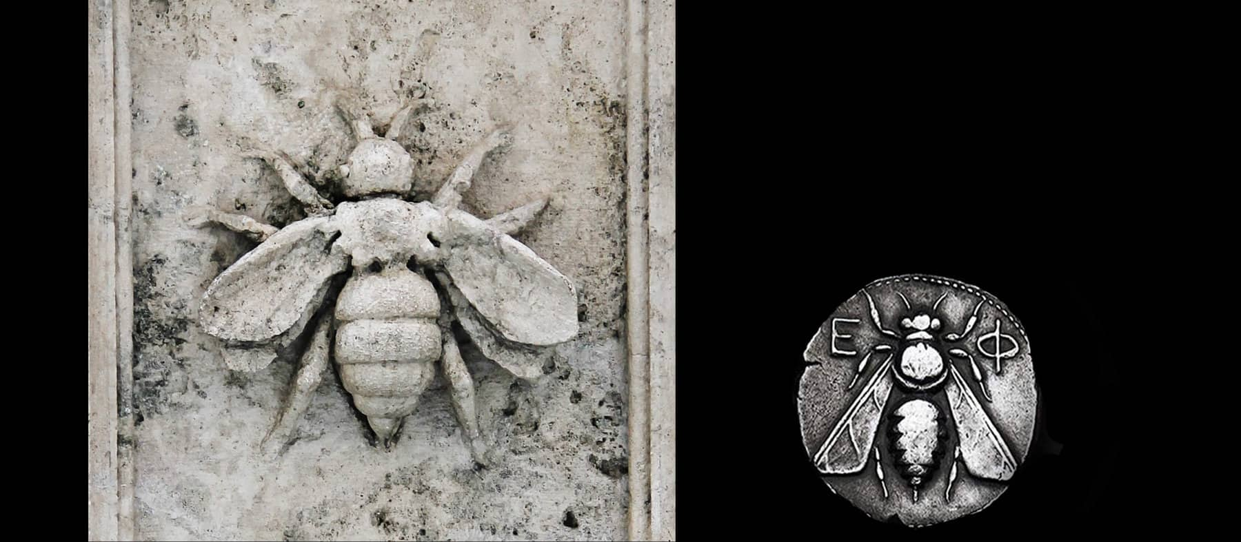 A photo collage shows two color images in a row. On the left is a close-up of a bee carved into a stone frieze. On the right is an antique silver coin depicting a bee.