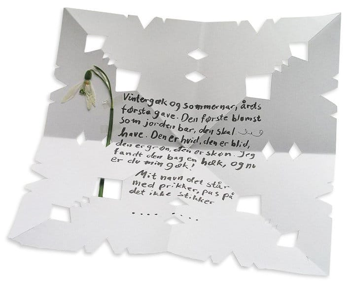 An image of a Danish gaekkebrev, which consists of a folded and cut-out piece of white paper with a love note written in the center, in Danish, and a pressed white flower on the left-hand side.