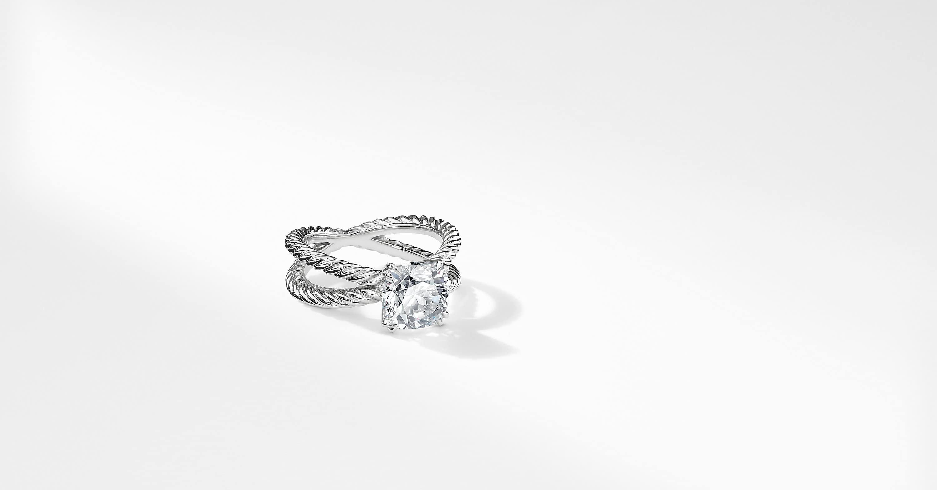 DY Crossover Engagement Ring in Platinum, DY Signature Cut