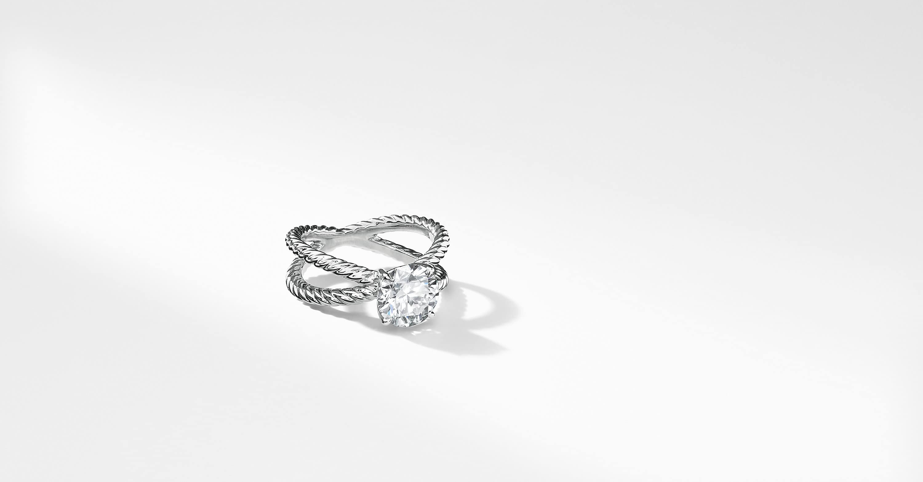 DY Crossover Engagement Ring in Platinum, Round