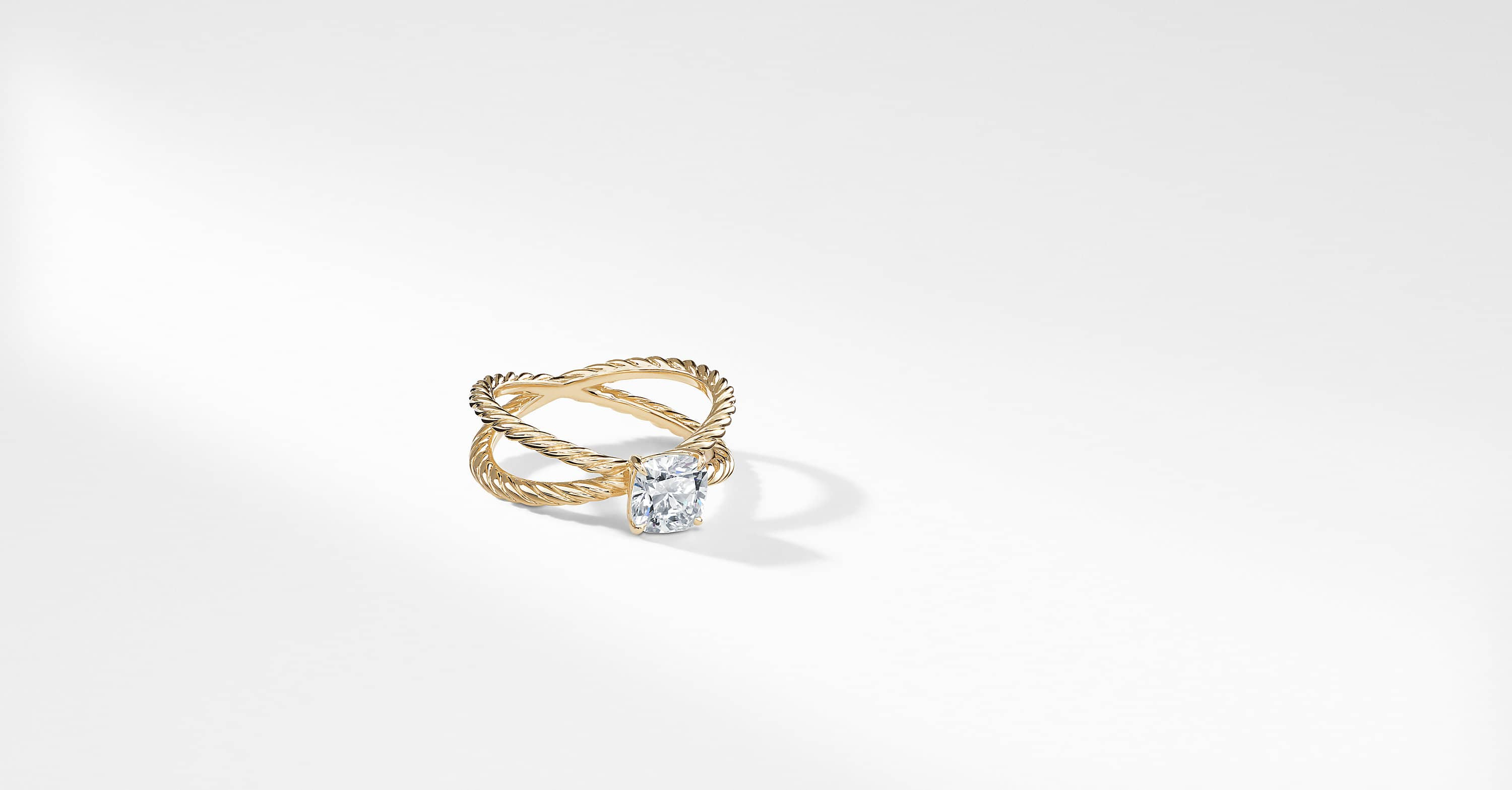 DY Crossover Petite Engagement Ring in 18K Yellow Gold, DY Signature Cut