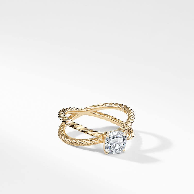 DY Crossover Petite Engagement Ring in 18K Yellow