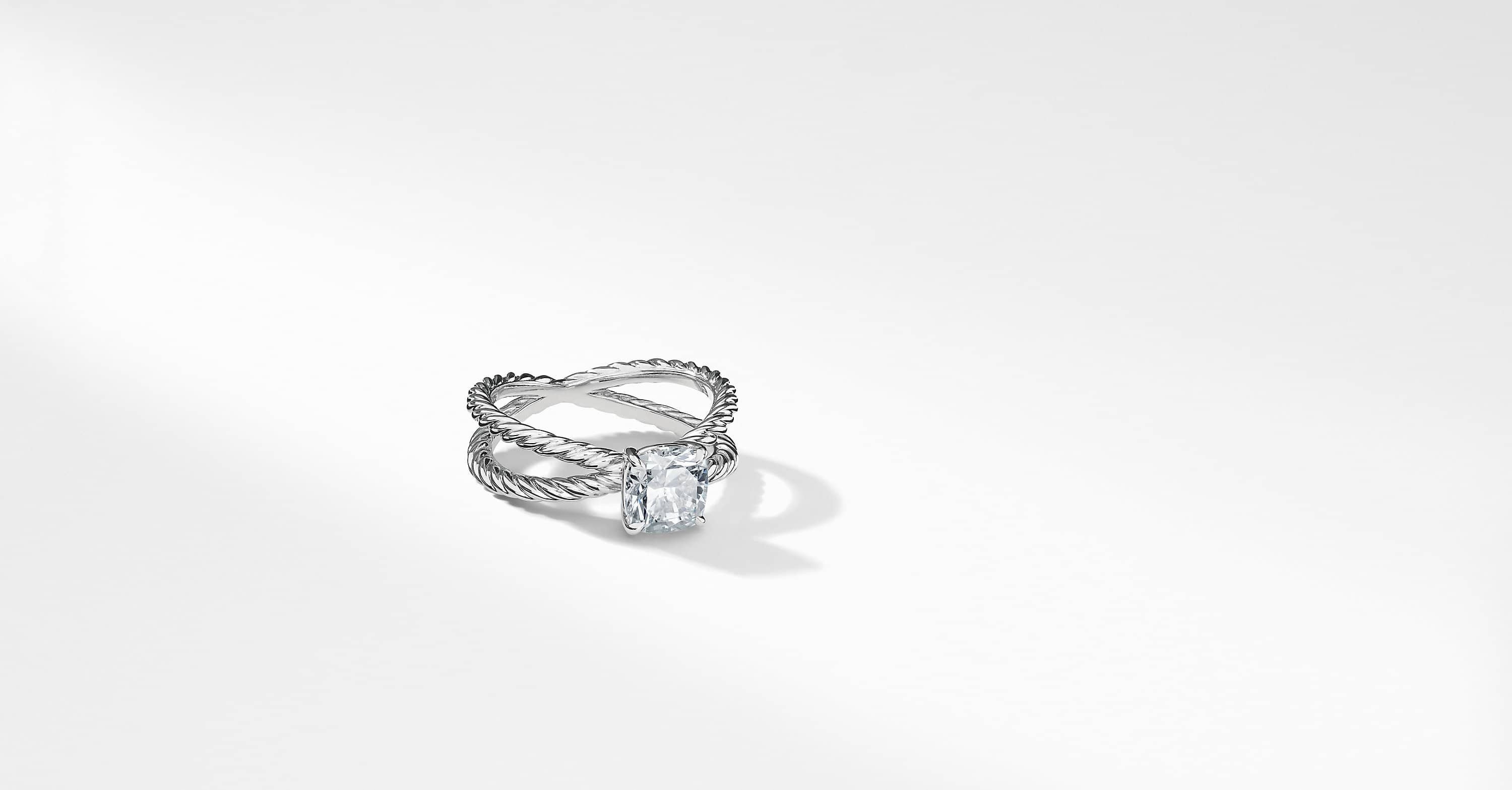 DY Crossover Petite Engagement ring in Platinum, DY Signature Cut