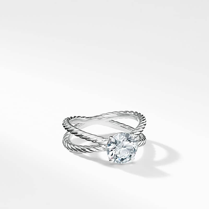 DY Crossover Petite Engagement ring in Platinum, Round