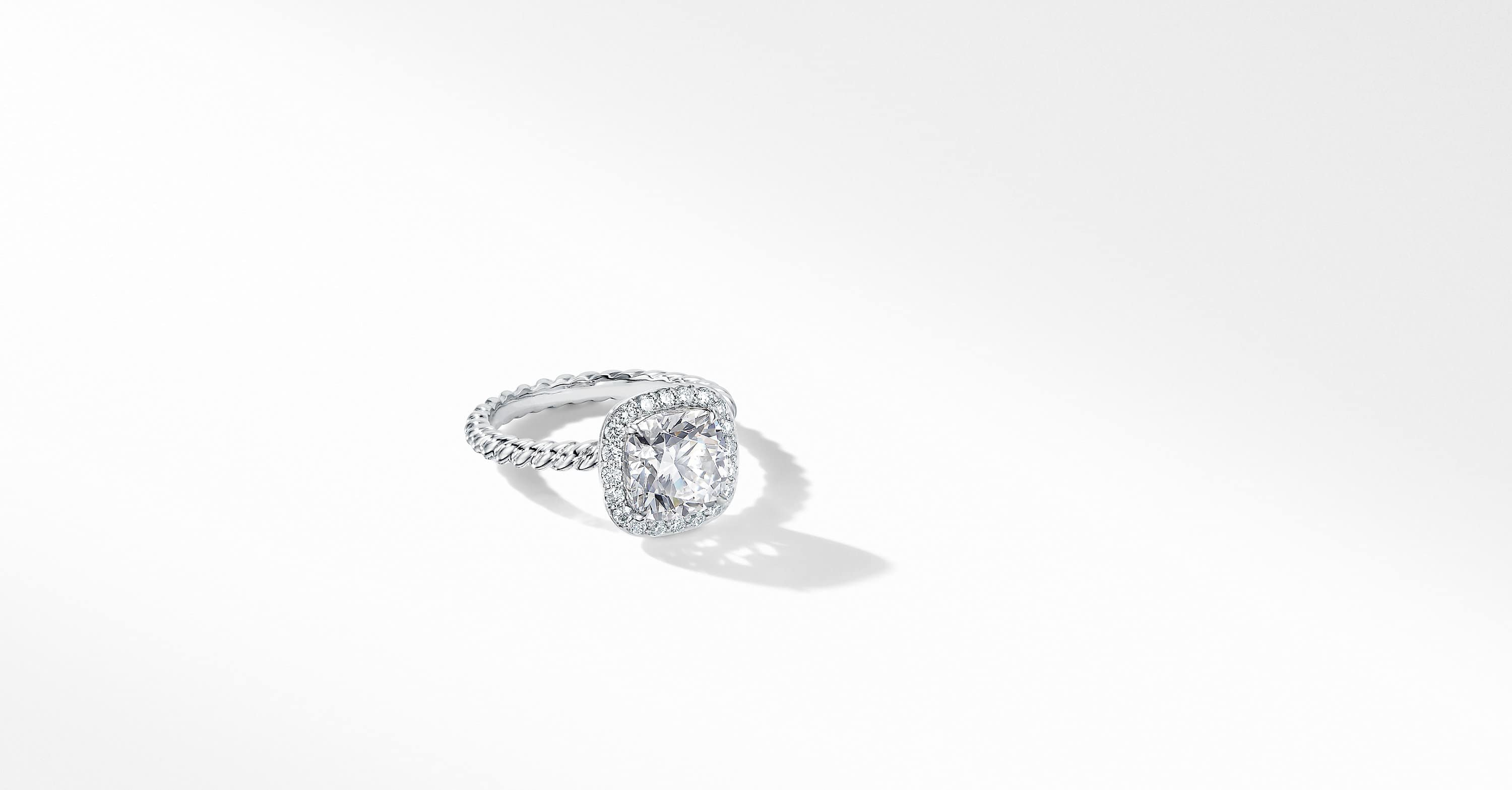 DY Capri Engagement Ring in Platinum, Cushion