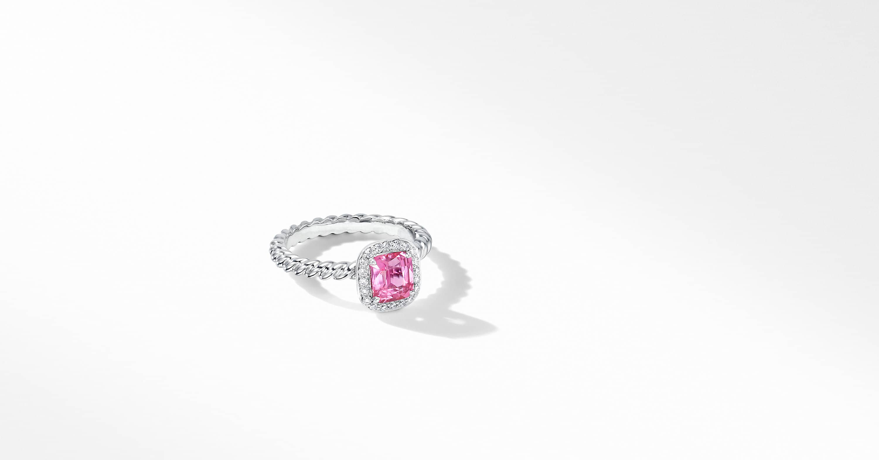 DY Capri Engagement Ring in Platinum with Pink Sapphire, Cushion