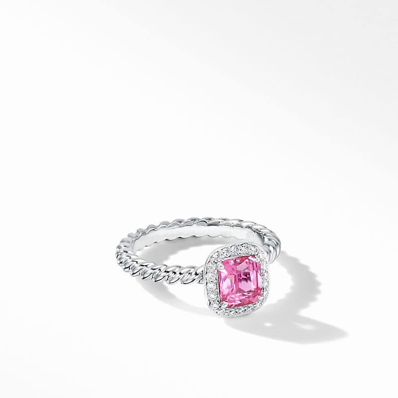 DY Capri Engagement Ring in Platinum with Pink