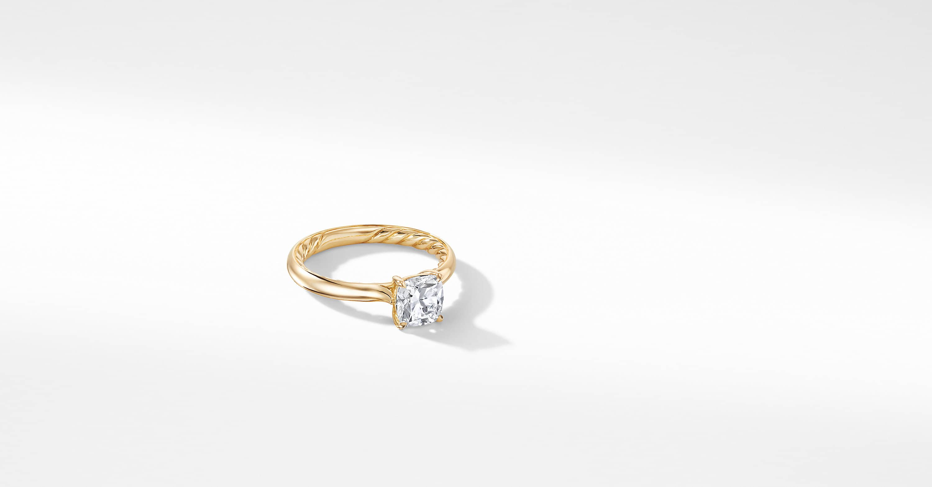 DY Eden Engagement Ring in 18K Yellow Gold, Cushion