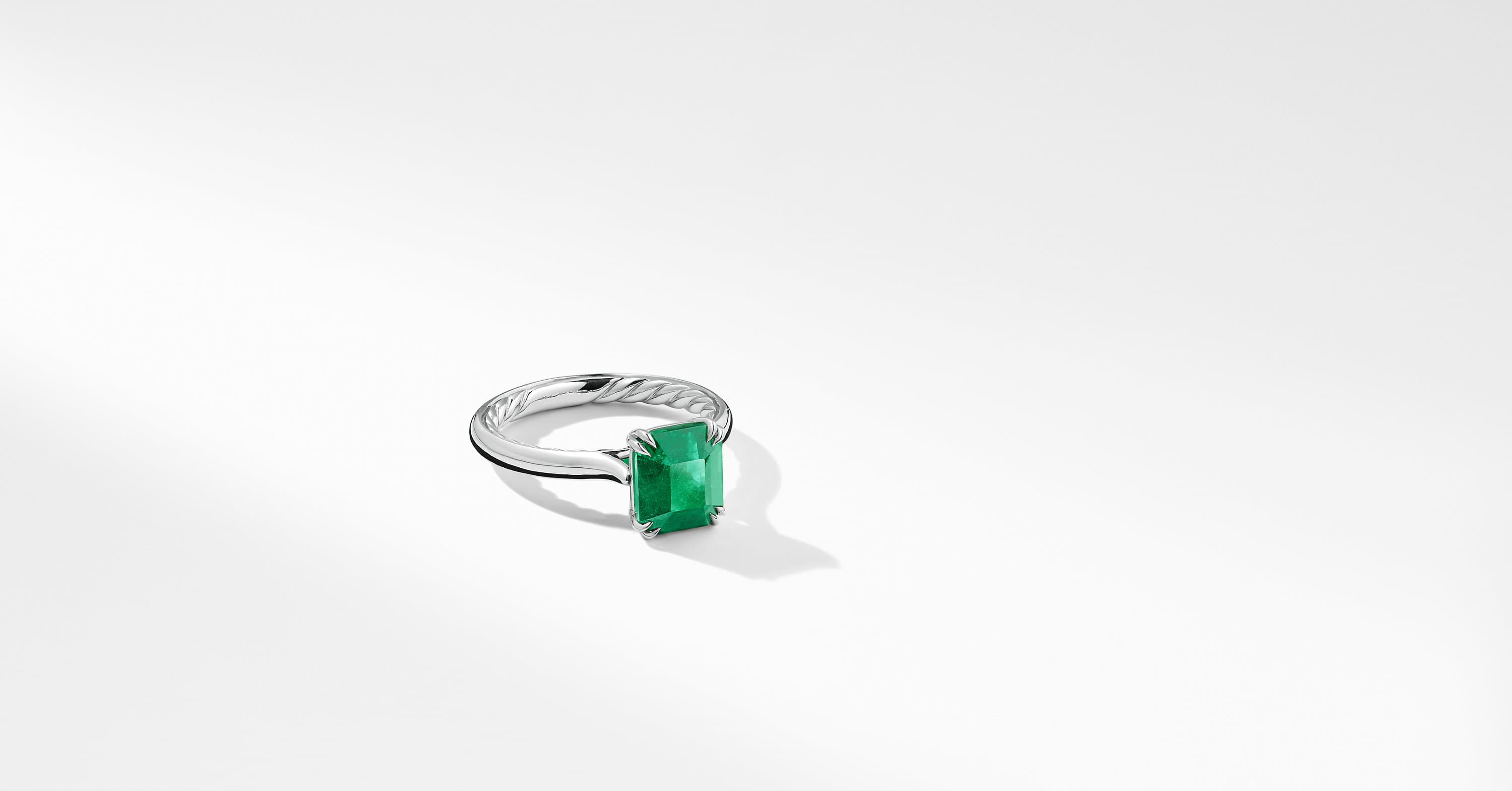 DY Eden Engagement Ring with Green Emerald in Platinum, Emerald