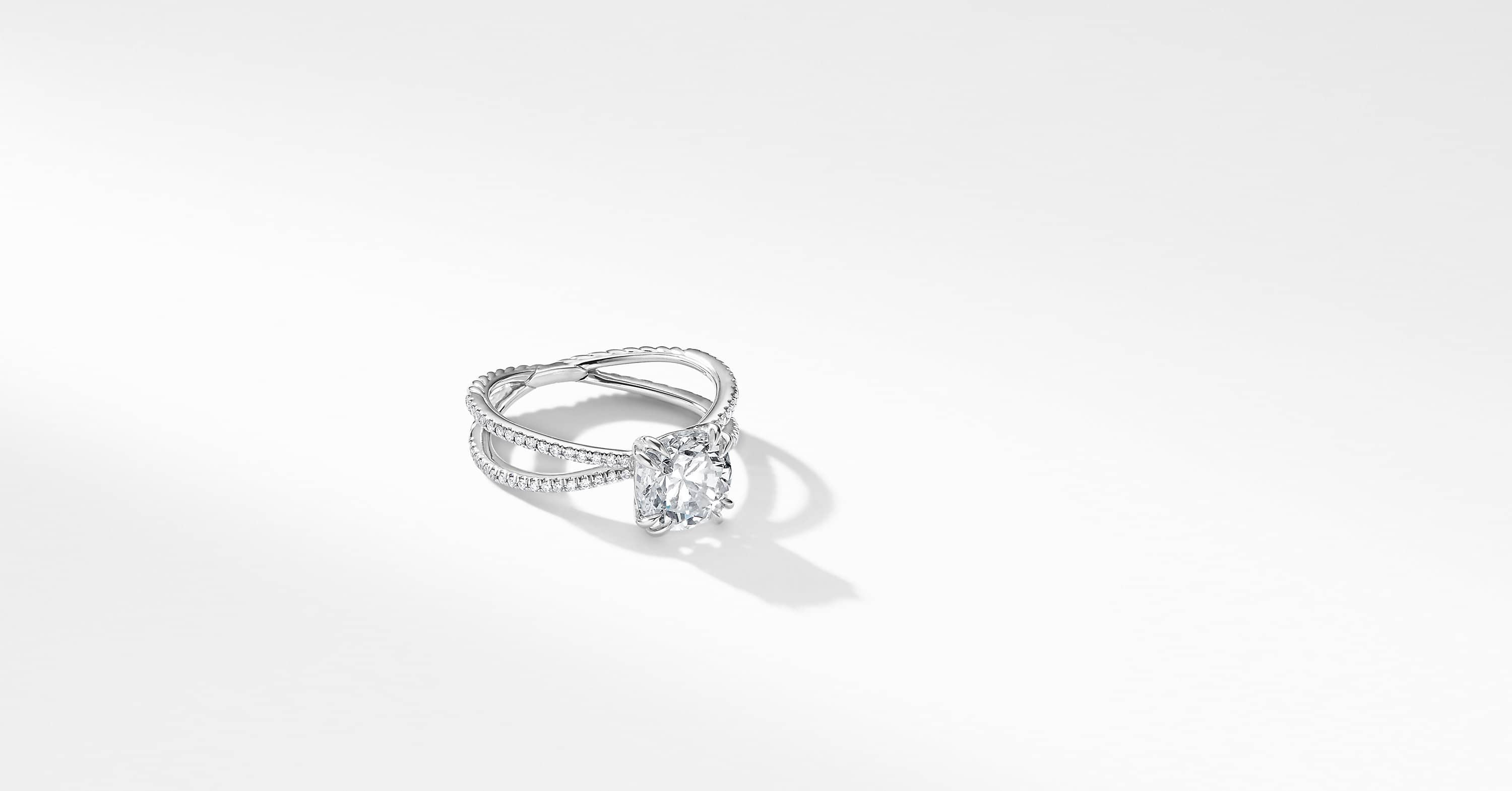 DY Crossover Micro Pave Engagement Ring in Platinum, Cushion