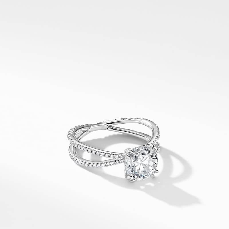 DY Crossover Micro Pave Engagement Ring in Platinum,