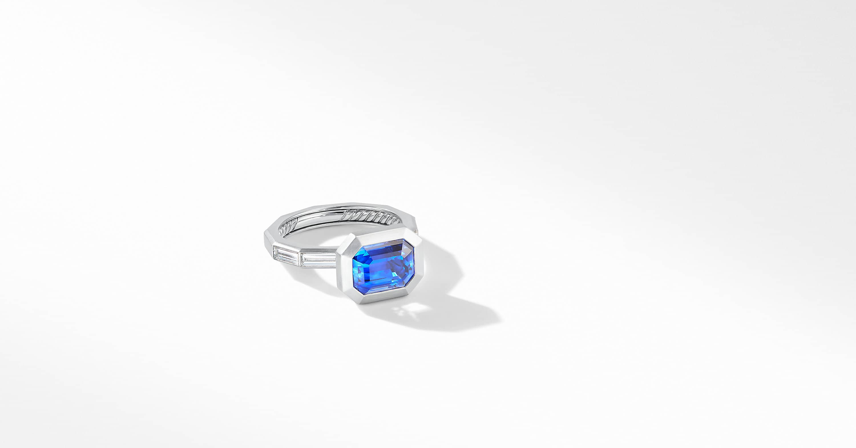DY Delaunay Engagement Ring in Platinum with Blue Sapphire, Emerald