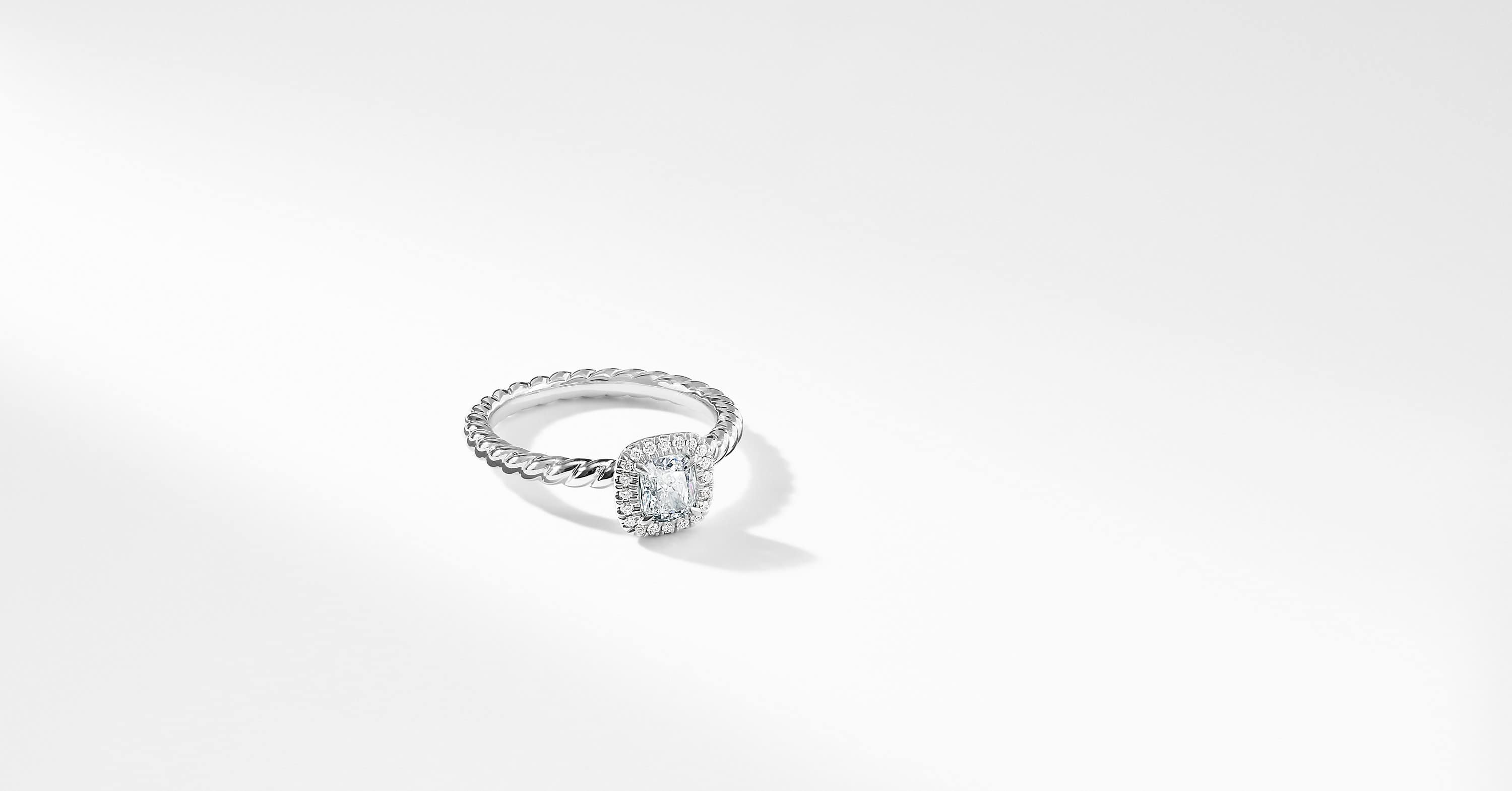 DY Capri Petite Engagement Ring in Platinum, Cushion