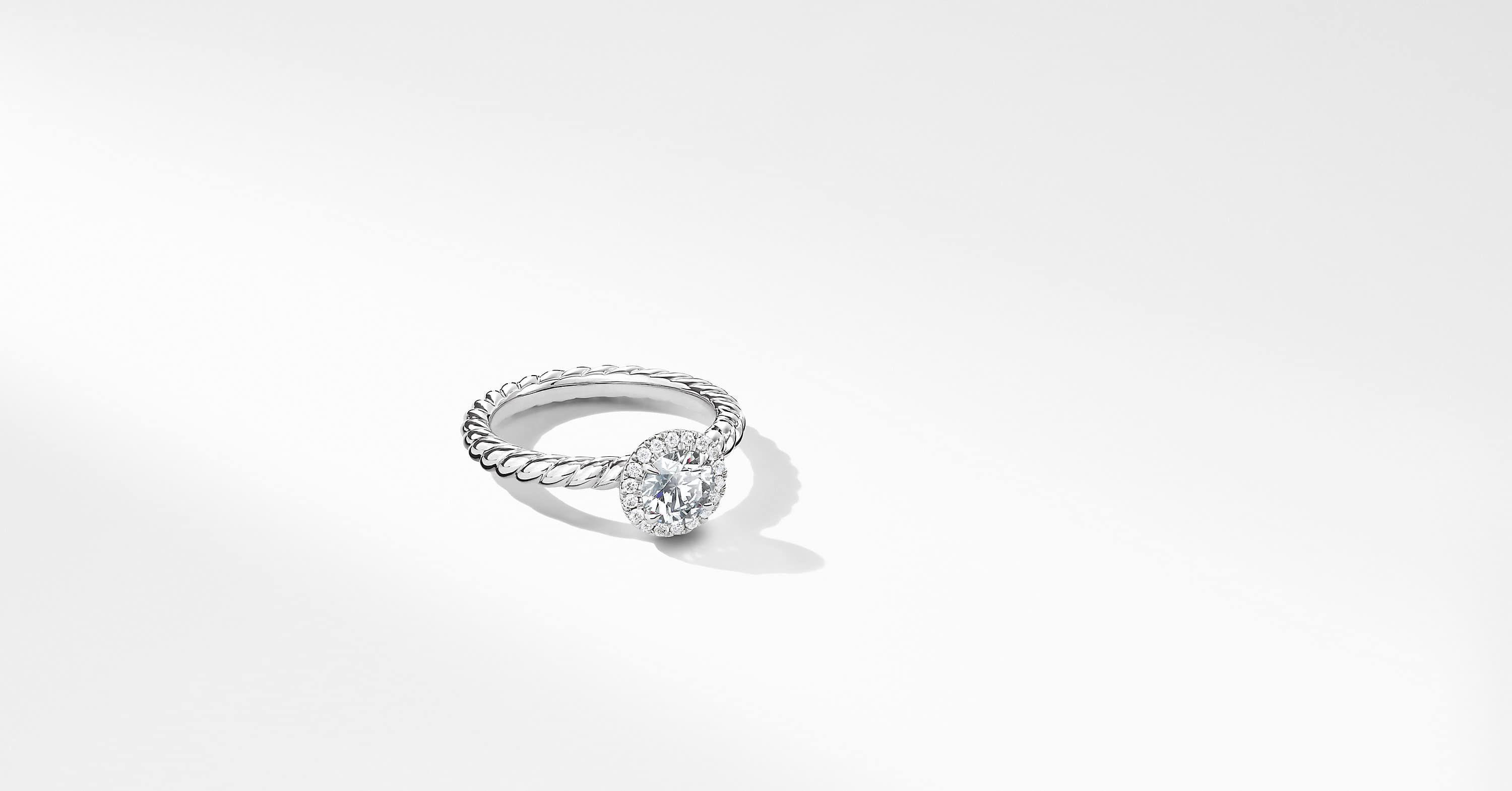 DY Capri Petite Engagement Ring in Platinum, Round