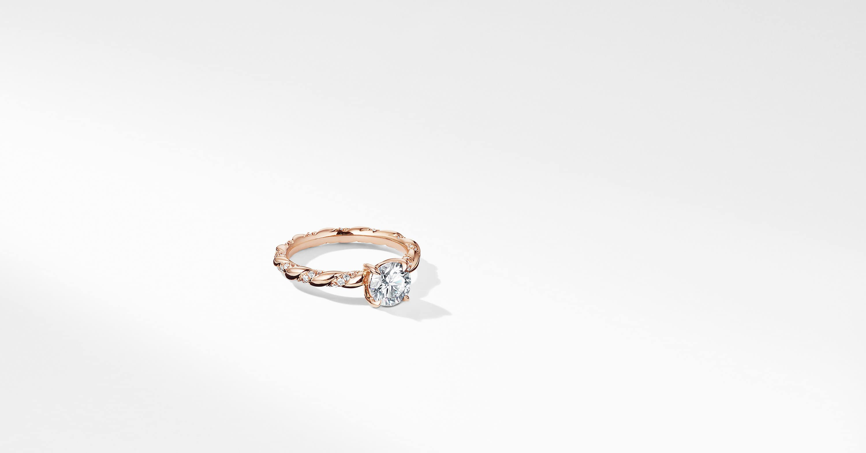DY Unity Pave Engagement Ring in Rose Gold, Round